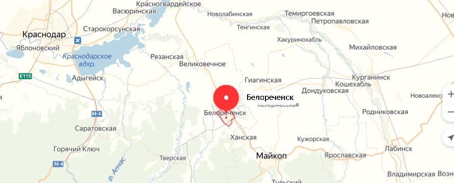 карта белореченск