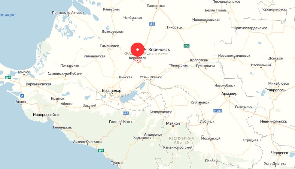 Кореновск на карте