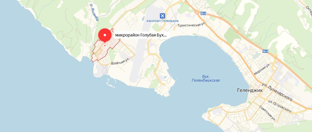 Голубая бухта геленджик на карте