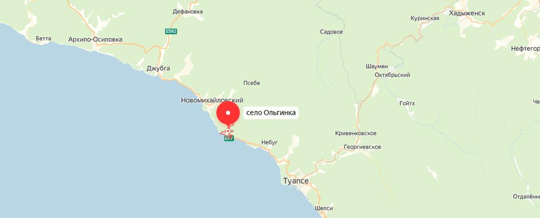 Ольгинка на карте